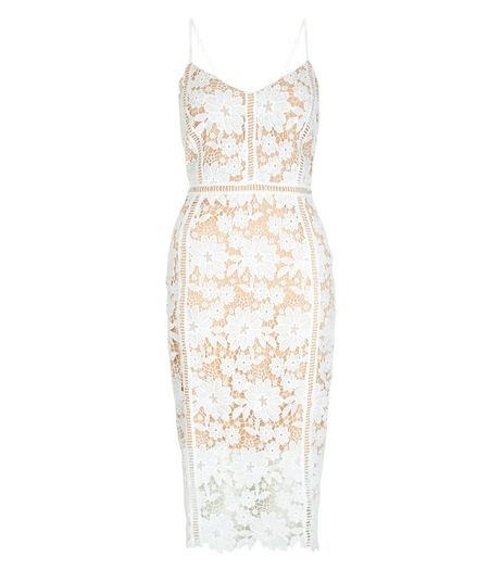 White Lace Ladder Trim Bodycon Midi Dress  | New Look