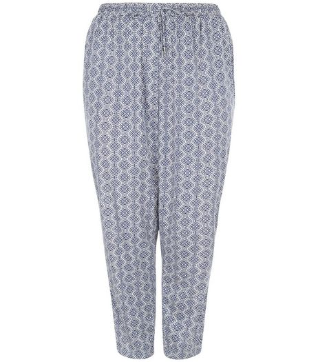 Curve Blue Tile Print Joggers | New Look
