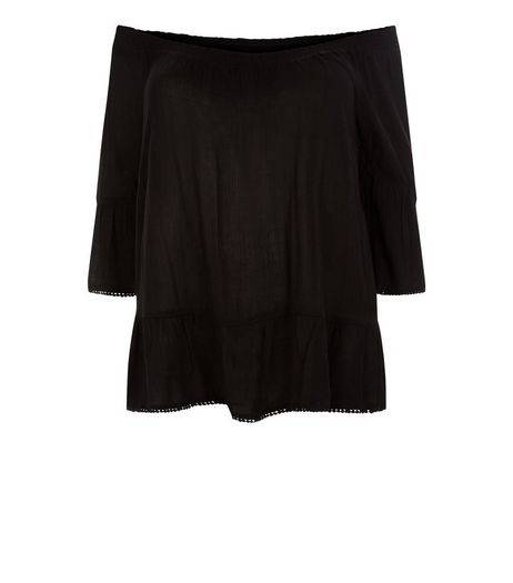 Curves Black Frill Hem Bardot Neck Top | New Look