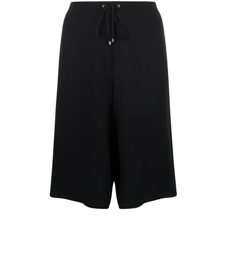 Curves Black Drawstring Culottes  | New Look