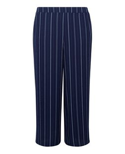 Curves Blue Stripe Wide Leg Trousers | New Look