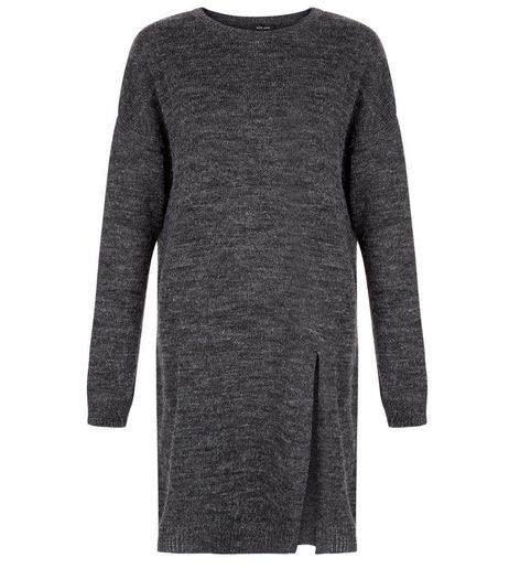 Dark Grey Split Front Longline Jumper  | New Look