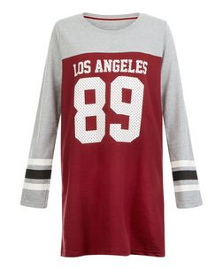 Brave Soul Red Los Angeles 89 Print Sweatshirt Dress | New Look