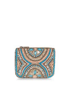Blue Beaded Zip Top Coin Purse  | New Look