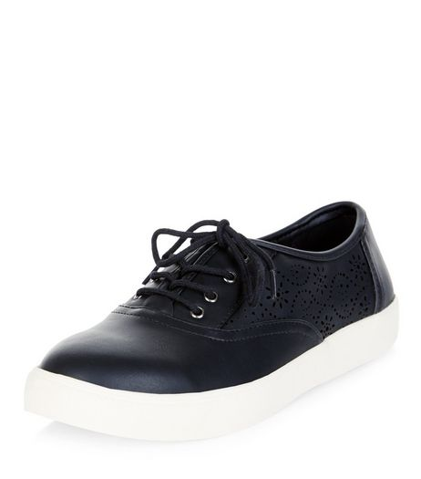 Black Laser Cut Out Lace Up Plimsolls  | New Look