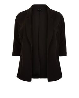 Curves Black 3/4 Sleeve Blazer | New Look