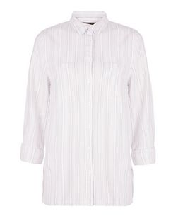 Pink Stripe Double Pocket Shirt | New Look
