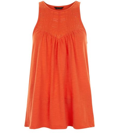 Orange Embroidered Cut Out Vest  | New Look