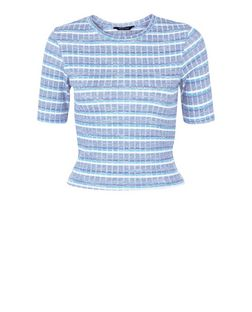Blue Ribbed Stripe Crop Top  | New Look