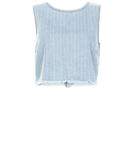 Pale Blue Stripe Fray Trim Denim Crop Top  | New Look