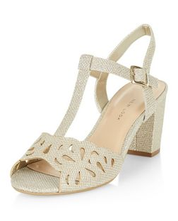Teens Gold Glitter Cut Out Block Heel Sandals  | New Look