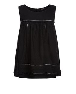 Black Textured Crochet Trim Sleeveless Top  | New Look