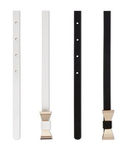 2 Pack Black and White Bow Skinny Belts  | New Look