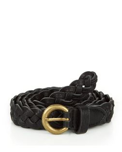 Black Triple Plait Jeans Belt  | New Look