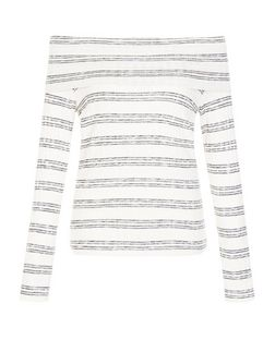 White Fine Knit Stripe Bardot Neck Long Sleeve Top  | New Look