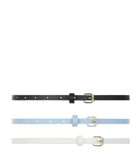 3 Pack White Blue and Black Skinny Belts  | New Look
