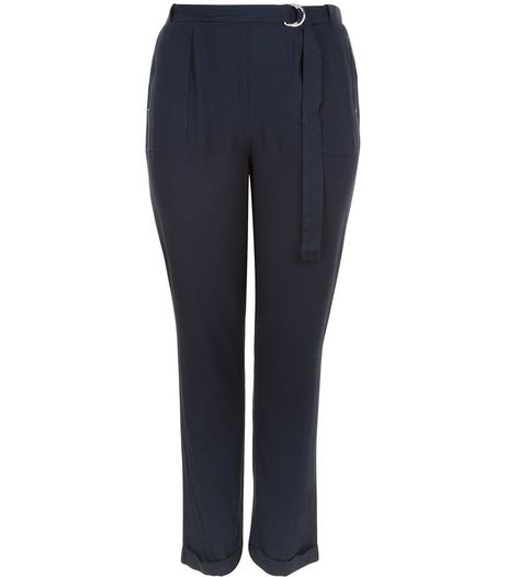Curves Navy D-Ring Belted Trousers | New Look