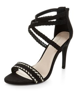 Black Aztec Woven Cross Strap Heeled Sandals  | New Look