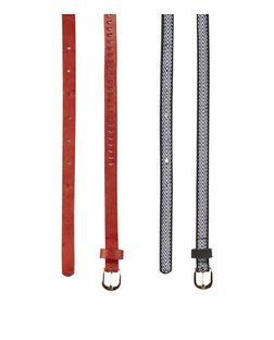 2 Pack Black Tape and Red Cut Out Skinny Belts  | New Look