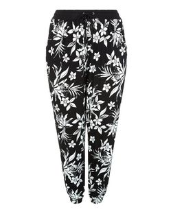 Plus Size Black Floral Print Joggers | New Look