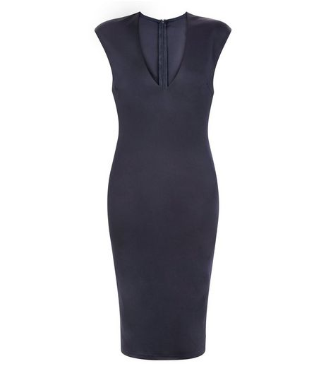 AX Paris Navy V Neck Midi Dress | New Look