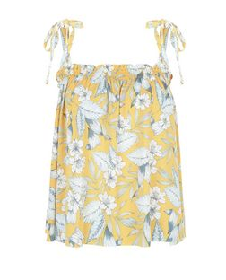 Yellow Floral Print Tie Strap Cami  | New Look