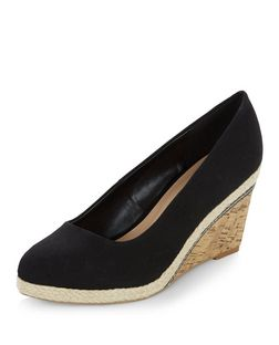 Wide Fit Black Canvas Contrast Wedges  | New Look