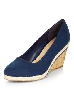 Wide Fit Navy Canvas Contrast Wedges  | New Look