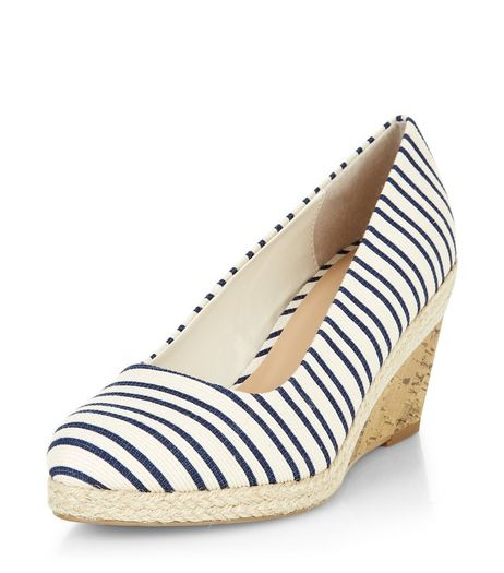 Wide Fit Blue Canvas Contrast Wedges | New Look