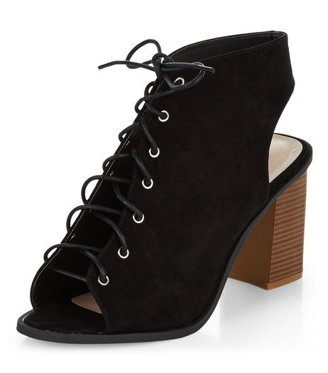 Wide Fit Black Lace Up Peep Toe Block Heel Ankle Boots  | New Look