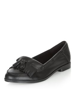 Black Leather Fringed Loafers | New Look