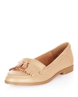 Stone Leather Fringed Loafers | New Look