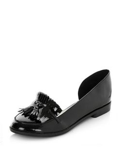 Black Patent Cut Out Side Tassel Loafers  | New Look