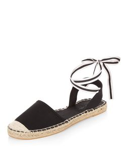 Black Stripe Ankle Tie Espadrilles | New Look