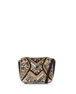 Multicoloured Beaded Pom Pom Across Body Bag  | New Look