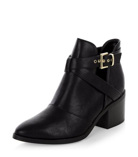 Black Leather-Look Cut Out Strap Ankle Boots | New Look