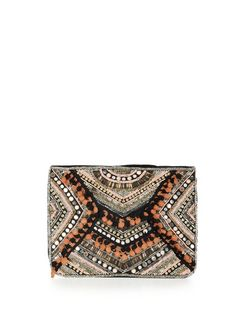 Multicoloured Beaded Pom Pom Clutch  | New Look