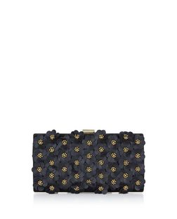 Black 3D Flower Box Clutch  | New Look