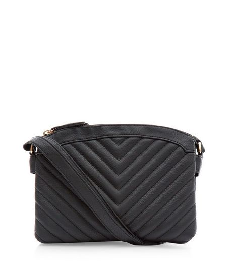 Black Chevron Quilted Across Body Bag | New Look