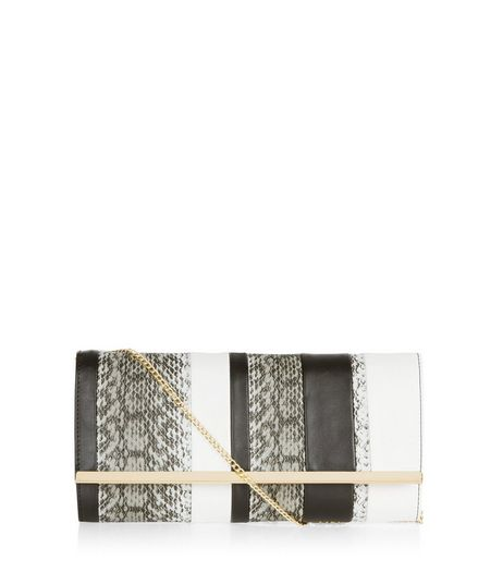 Black Stripe Snakeskin Print Clutch | New Look