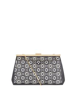 Black Flower Laser Cut Out Clutch | New Look