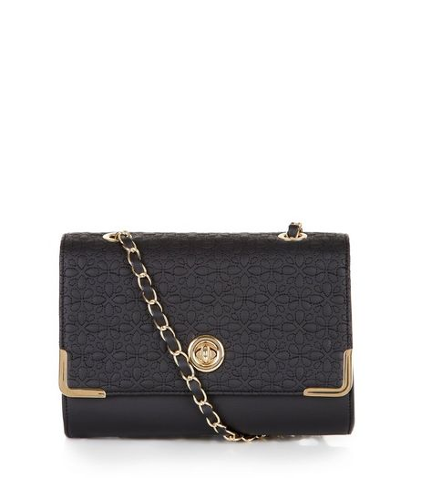 Black Floral Stitch Shoulder Bag | New Look