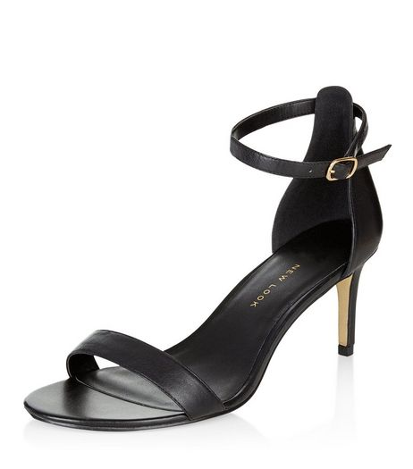 Wide Fit Black Leather Heeled Sandals  | New Look
