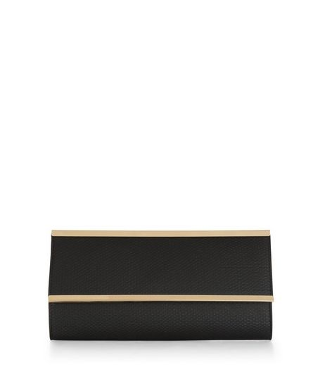 Black Metal Bar Clutch  | New Look