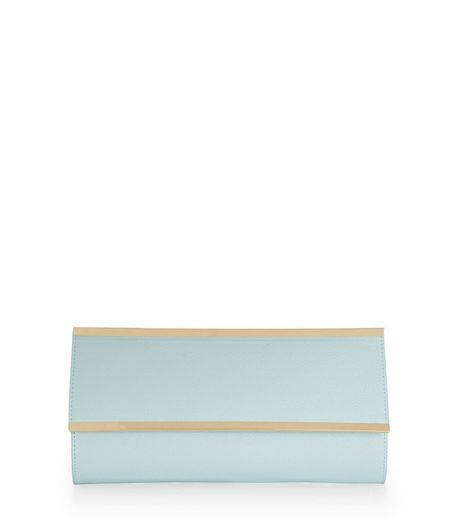 Pale Blue Metal Bar Clutch  | New Look