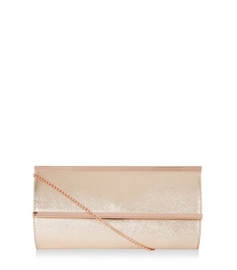 Bronze Metal Bar Clutch | New Look