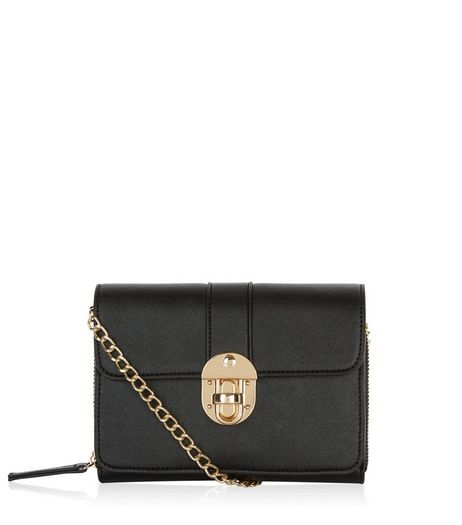 Black Mini Push Lock Clutch  | New Look