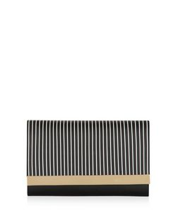 Black Stripe Panel Clutch  | New Look