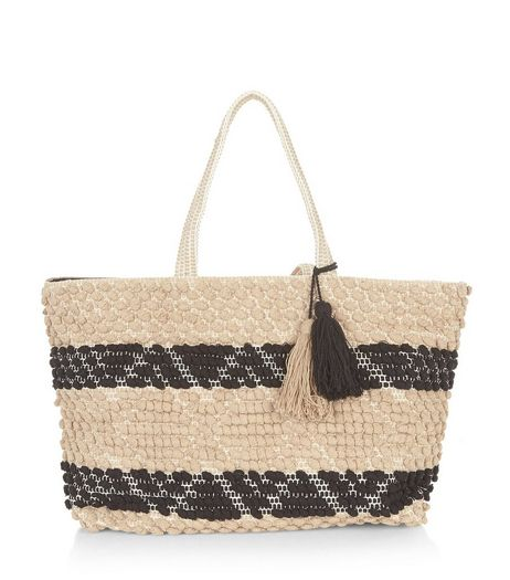 Camel Bobble Rug Textured Shopper Bag  | New Look