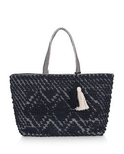 Navy Bobble Rug Textured Shopper Bag  | New Look